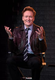 "Conan O'Brien speaks onstage during ""Conan O'Brien in Conversation with Jake Tapper"" at Sony Hall on Nov. 8, 2018, in New York City."