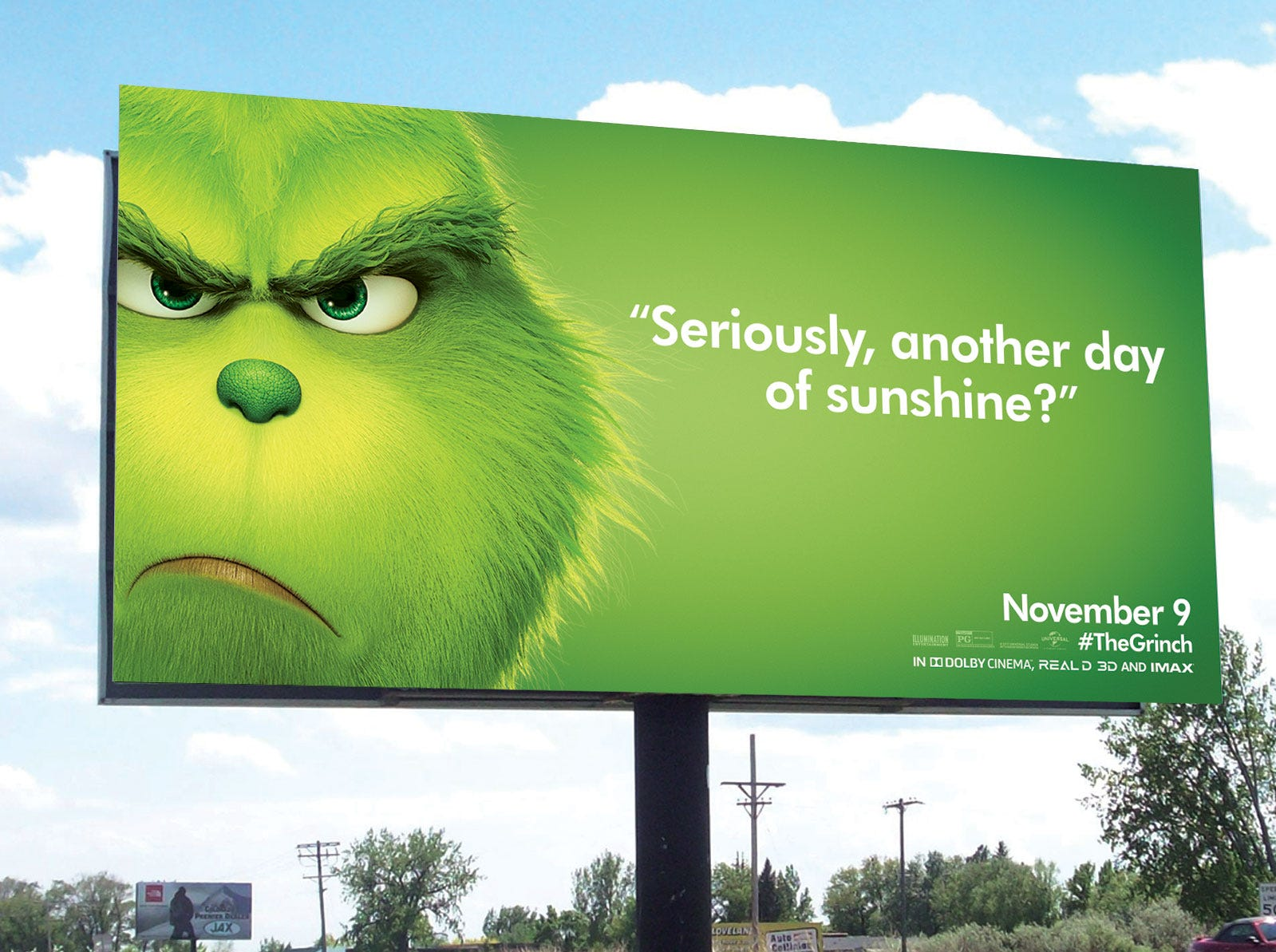 Not a sunshine fan, The Grinch gets snarky about Los Angeles weather.