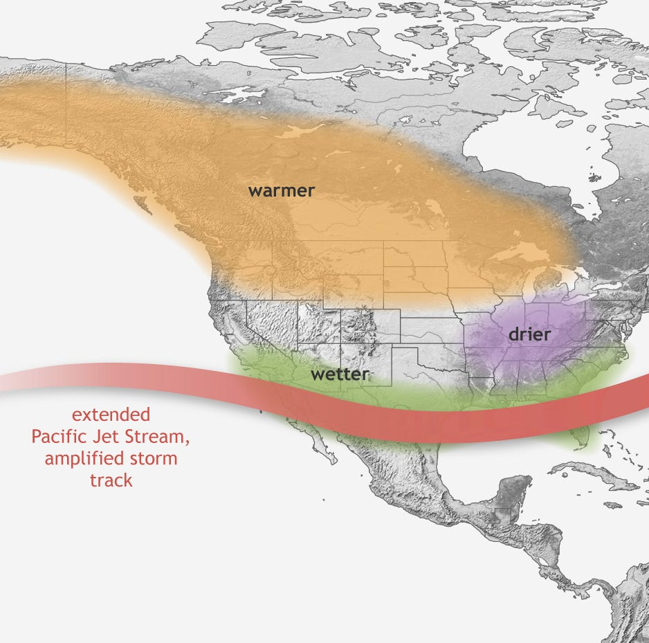 What is an El Niño, and what effects will this climate pattern have on spring weather?