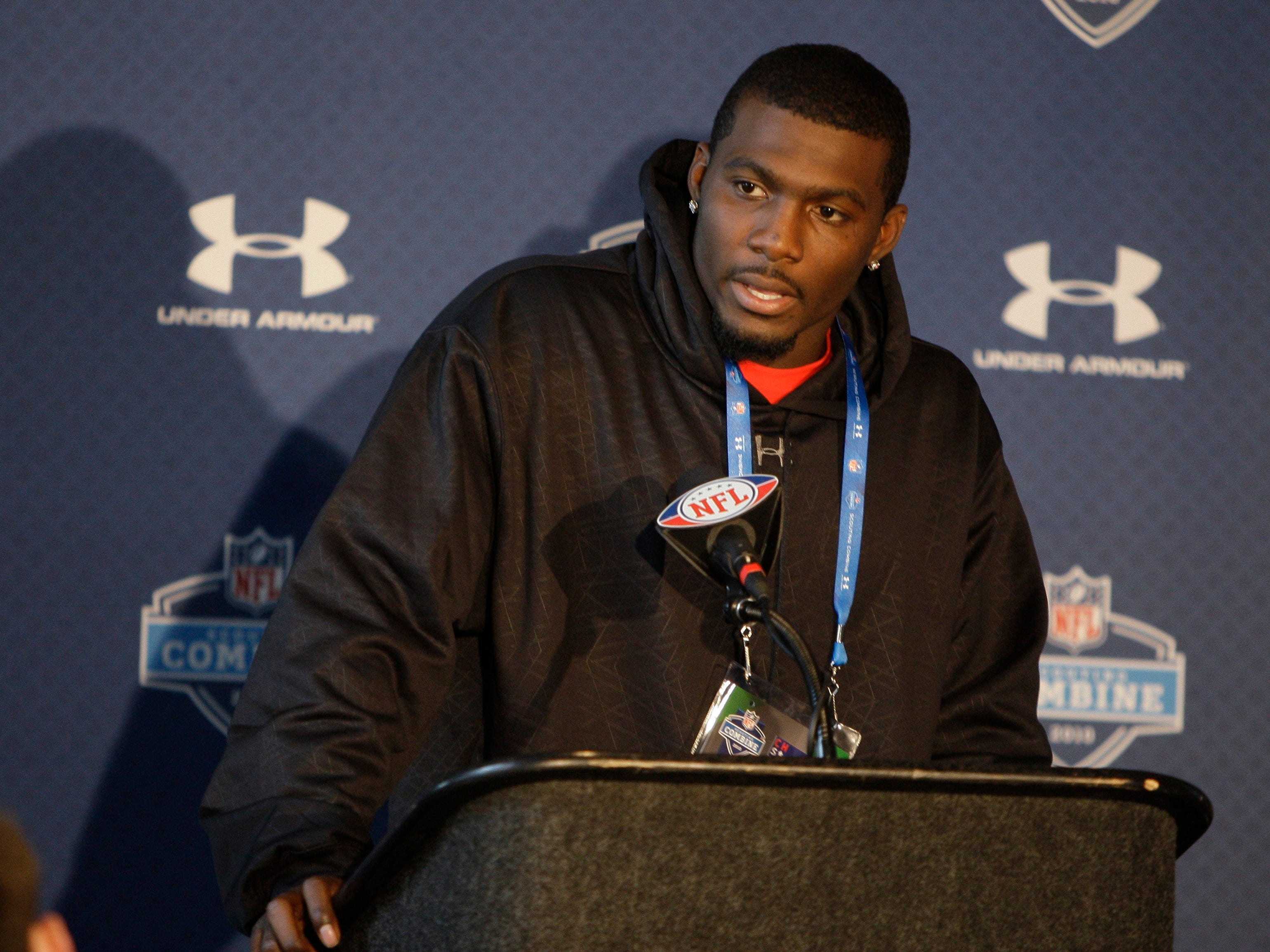 Dez Bryant listens to a question during a press conference at the NFL Scouting Combine in Indianapolis in 2010.