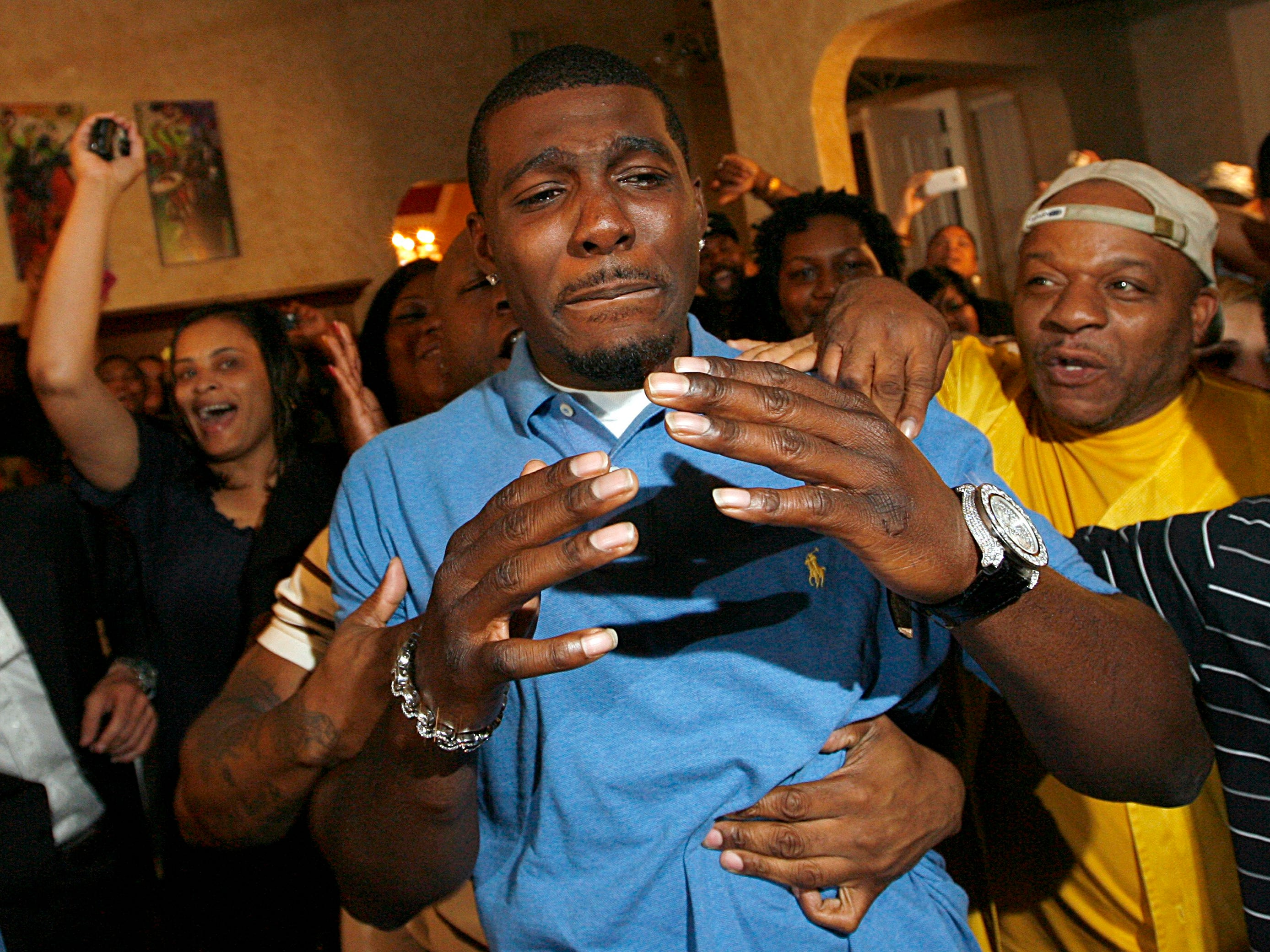 Dez Bryant is overcome with emotion while with friends and family after being selected as the  24th overall pick by the Dallas Cowboys in the first round of  2010 NFL draft.