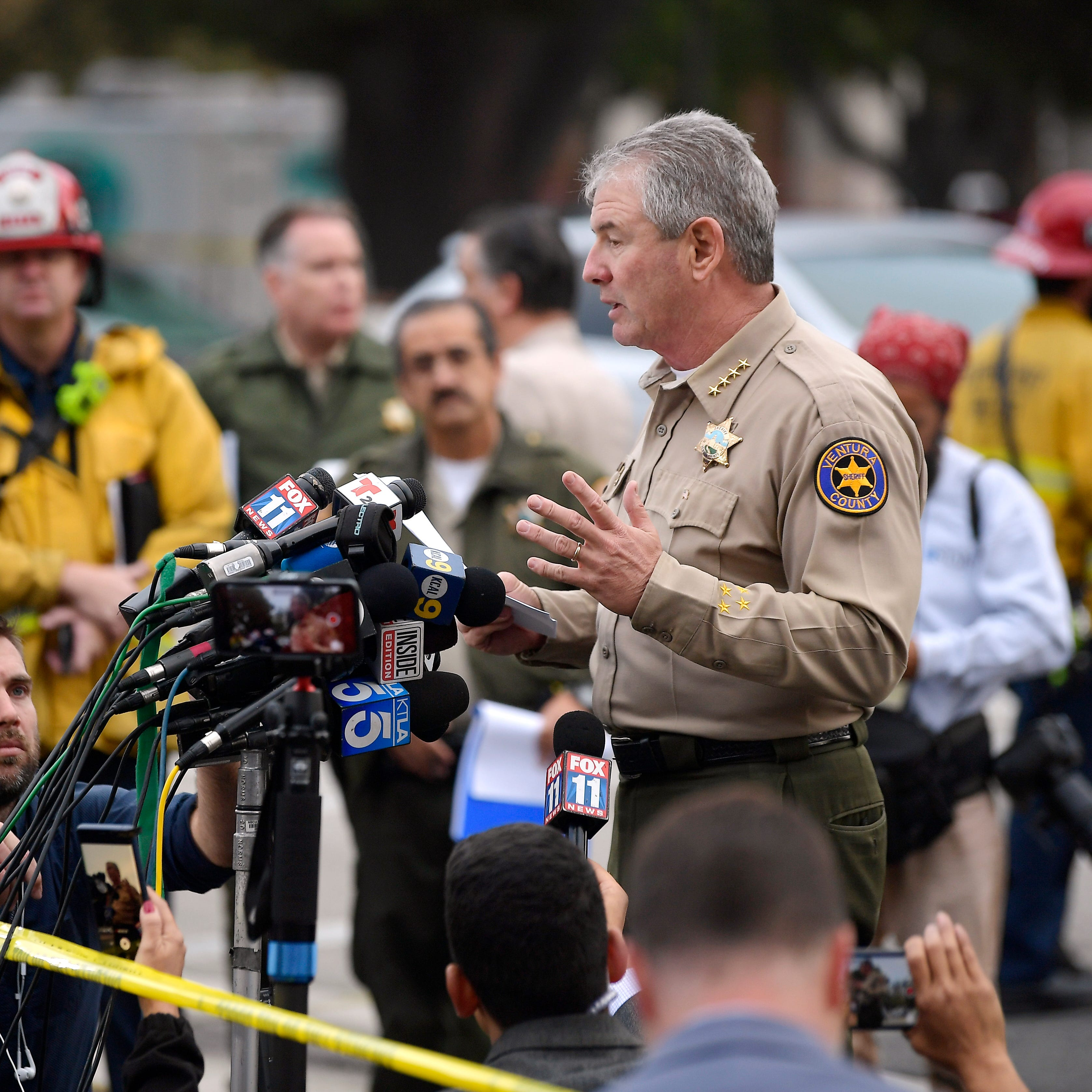 Ventura County Sheriff Geoff Dean speaks to reporters near the scene in Thousand Oaks, Calif., on Nov. 8, 2018, where a gunman opened fire the previous night inside a country dance bar crowded with hundreds of people.