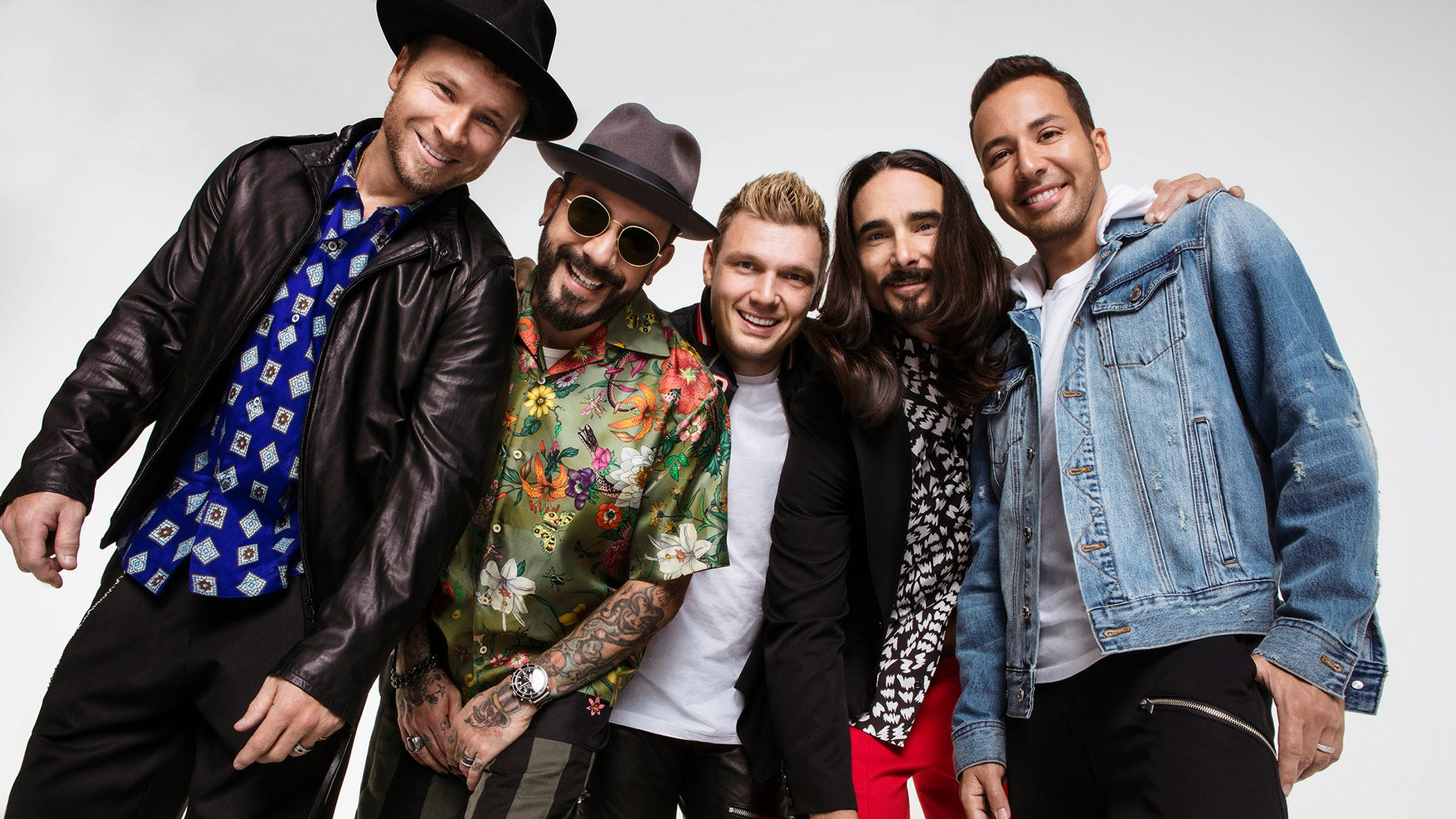 Brian Littrell, left, AJ McLean, Nick Carter, Kevin Richardson and Howie Dorough of '90s boy band Backstreet Boys.