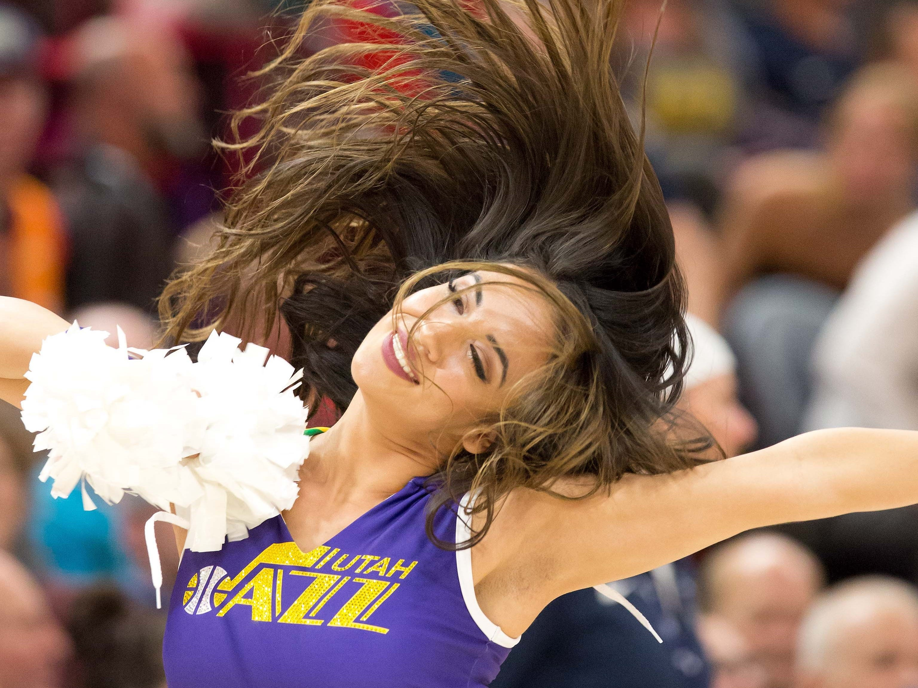 Nov. 7: A Jazz dancer performs during a timeout in the second half against the Mavericks at Vivint Smart Home Arena.