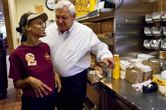 Randy Kibler, Bojangles' former CEO, stepped back into the role in an interim basis after Clifton Rutledge resigned in March. In this 2008 file photo, Kibler took a walk through a Bojangles' in Charlotte.