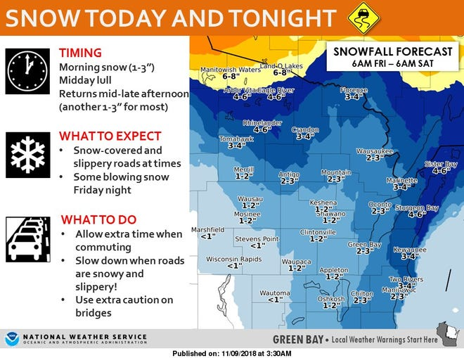 Snow is expected for most of the day Friday across the state.