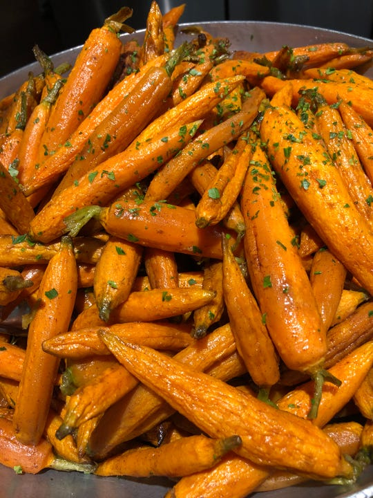Baby carrots with orange and maple glaze from Joe Leone's Italian Specialties.