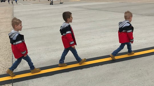 The Miles triplets (left to right) Connor, Mason and Hayden