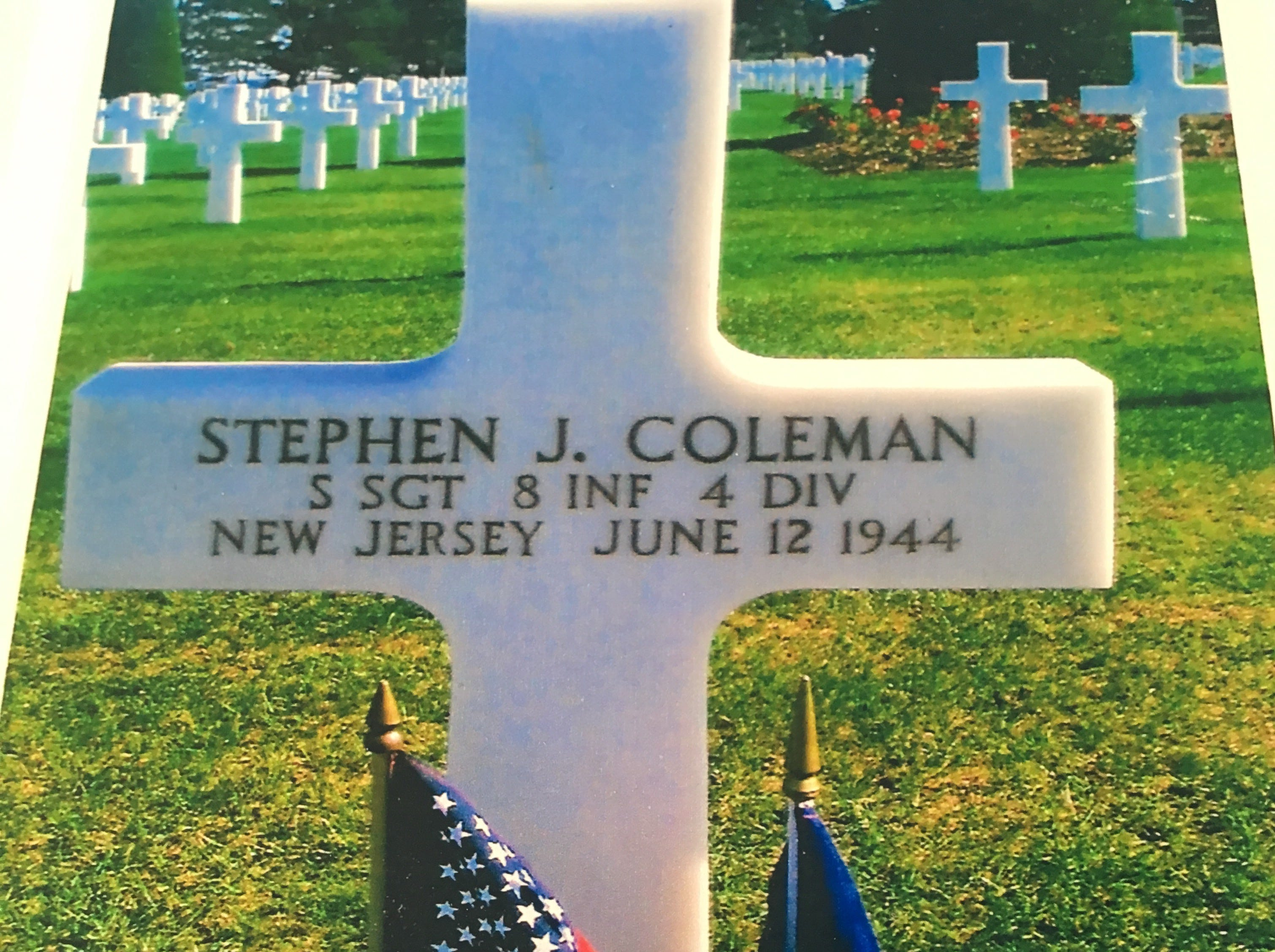 Sgt. Stephen Coleman's grave in Normandy, France.