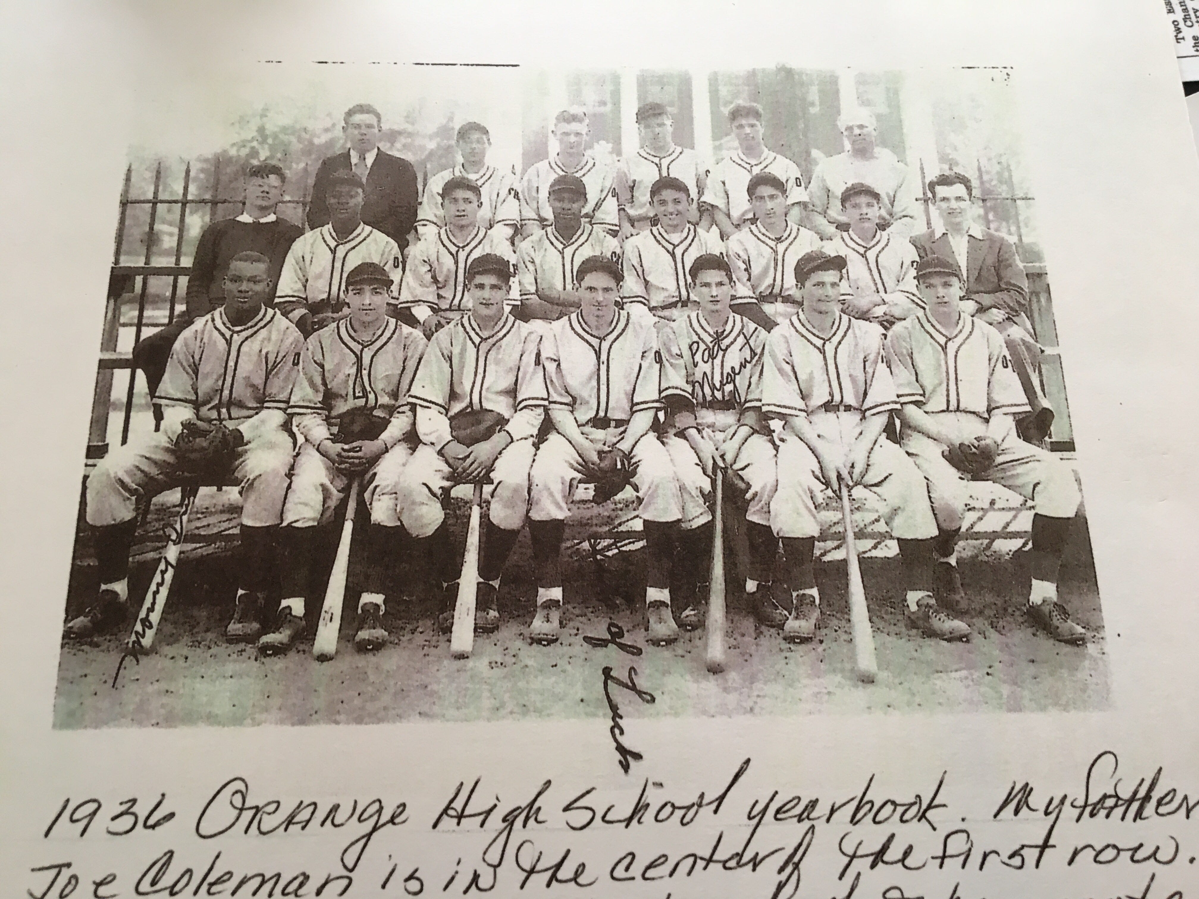 Stephen Coleman (front row, center) with Monte Irvin (far left) and the rest  of Orange High's baseball team in 1936