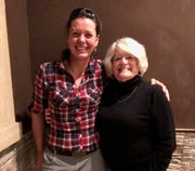 Valerie Gautier Cardin (left) and Carol Donahue together during Cardin's recent visit to the U.S.
