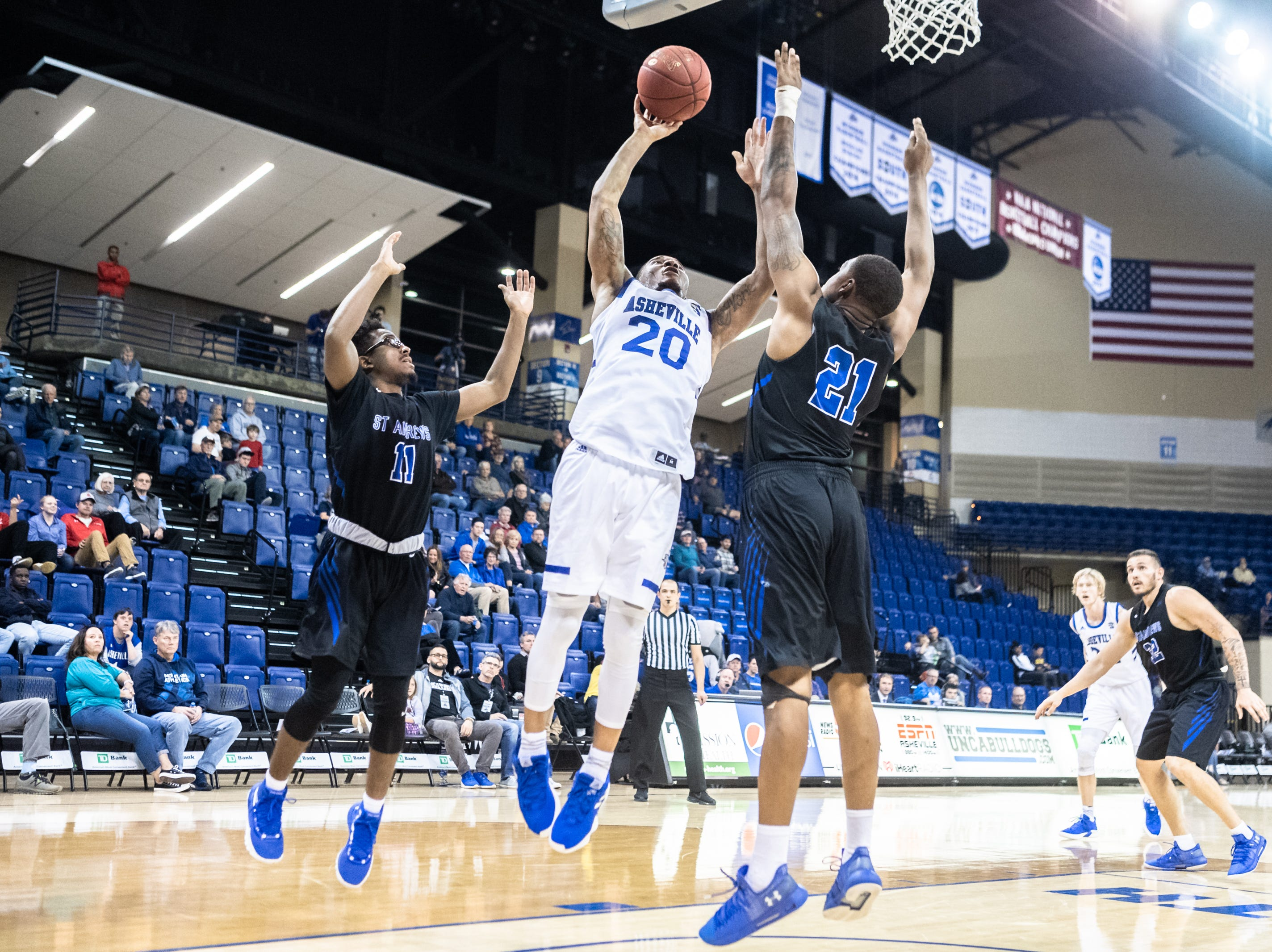 The UNC Asheville men's basketball team hosted St. Andrews for their season opener, defeating them 87-47, Nov. 8, 2018.