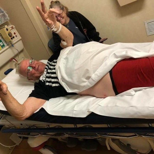 Sonny Pumphrey, seen recovering in the hospital with his wife, Betty Pumphrey, fought off a black bear in his Maggie Valley driveway.