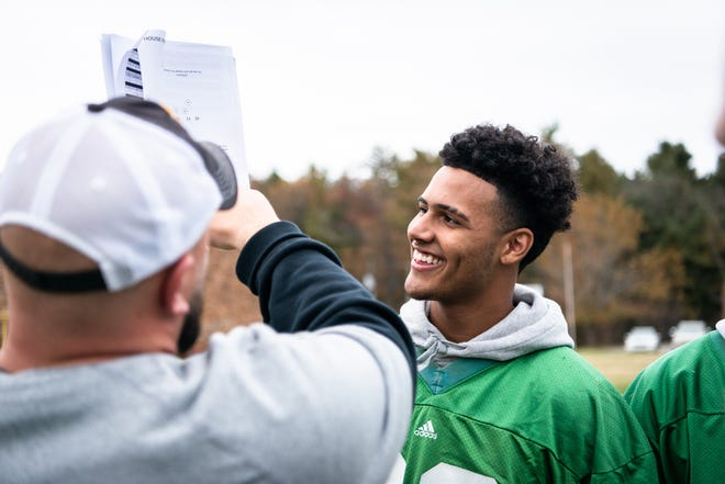 Kaedin Robinson, wide receiver for Christ School, during practice Nov. 8, 2018.