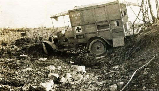 Edward Miles' ambulance in France. He was the son of Herbert D. Miles, who came to Asheville in 1912 and built the Miles Building.