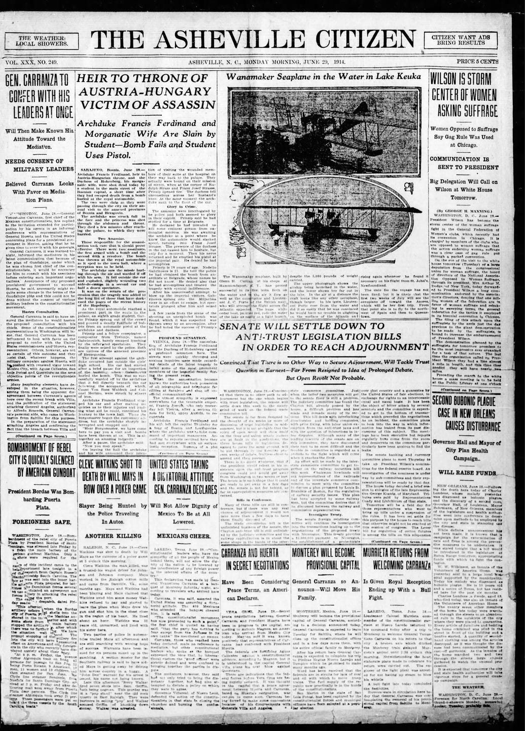 Historic front pages: Asheville Citizen during World War I