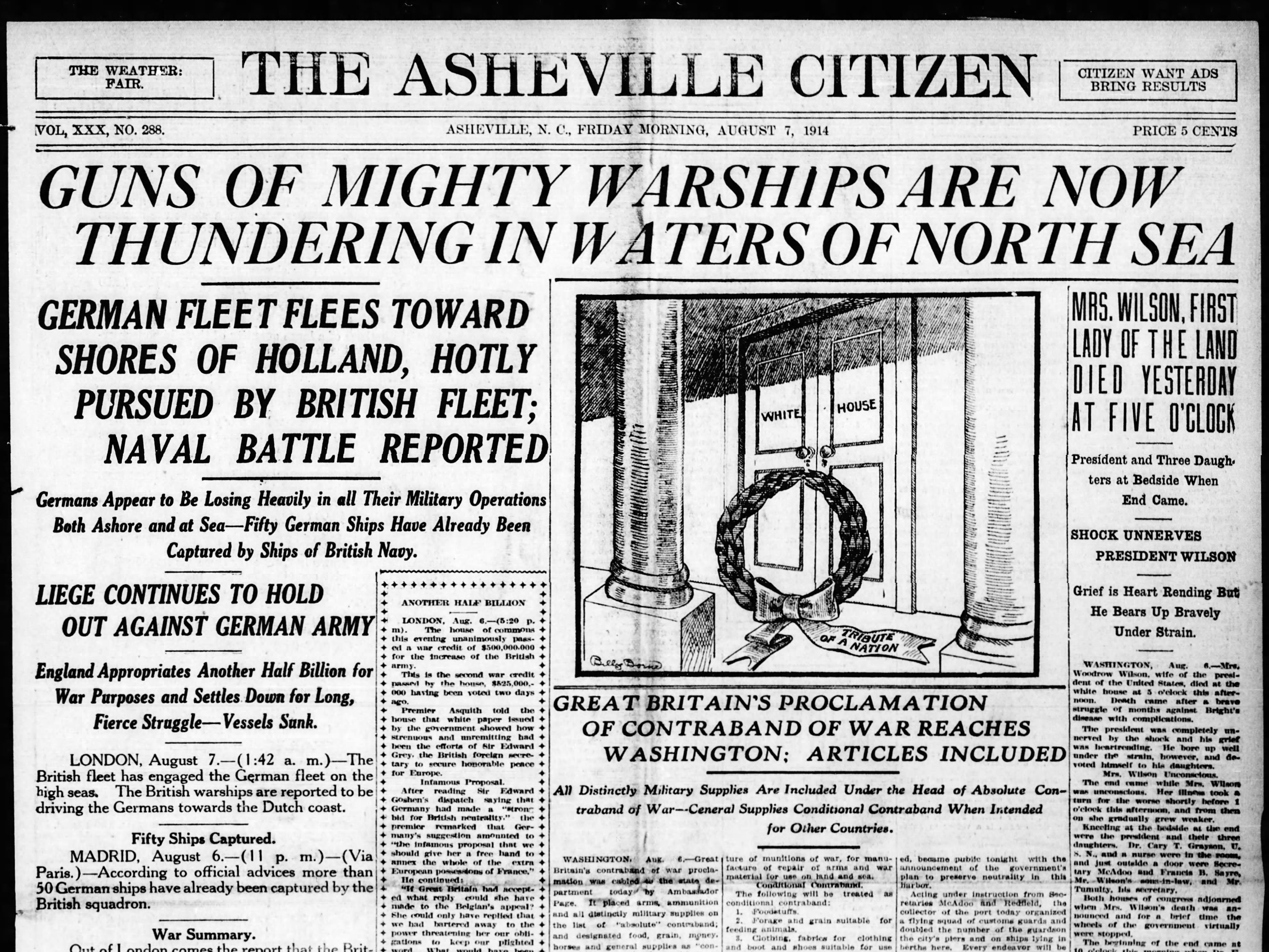 Asheville Citizen, Aug. 7, 1914.