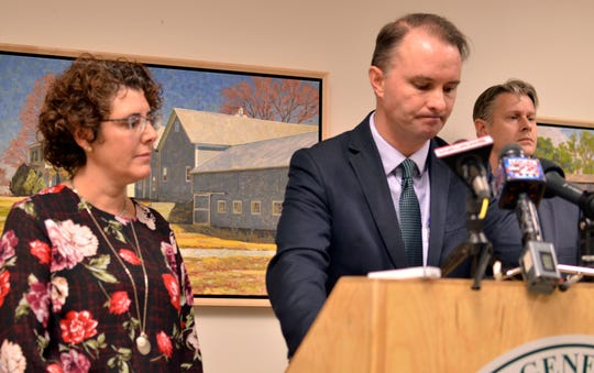 Vermont Attorney General T.J. Donovan, center, and Monica Hutt, commissioner of the Department of Disabilities, Aging and Independent Living, announced Friday that the state had intervened in the management of three senior living facilities in South Burlington and Saint Albans.