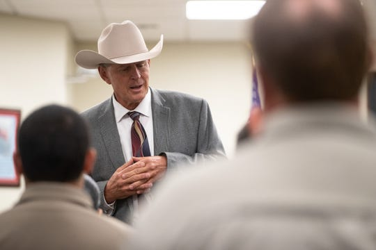 Nueces County Sheriff J.C. Hooper speaks during a graduation ceremony for 12 new jailers on Friday, Nov. 9, 2018.