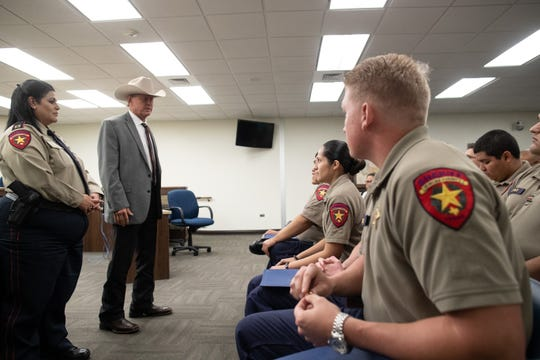 Nueces County Sheriff J.C. Hooper addressees the counties 12 new jailers during a graduation ceremony for them on Friday, Nov. 9, 2018.