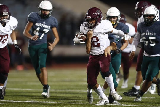Flour Bluff running back Isaac Miles rushed for 257 yards in the Hornets win over King on Thursday, Nov. 8, 2018 at Buc Stadium in Corpus Christi, Texas.