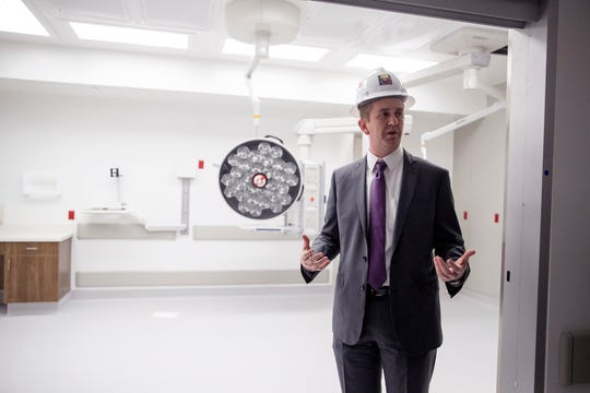 Justin Doss, President of Christus Spohn Health System, gives a tour of Christus Spohn Hospital Shoreline's new Patient Care Tower on Thursday, November 8, 2018. The tower includes about 200 new patient beds, a new and larger emergency department, public space, chapel, among other additions. This resuscitation bay is one of four located in the emergency department, which doubles the current number at Shoreline.