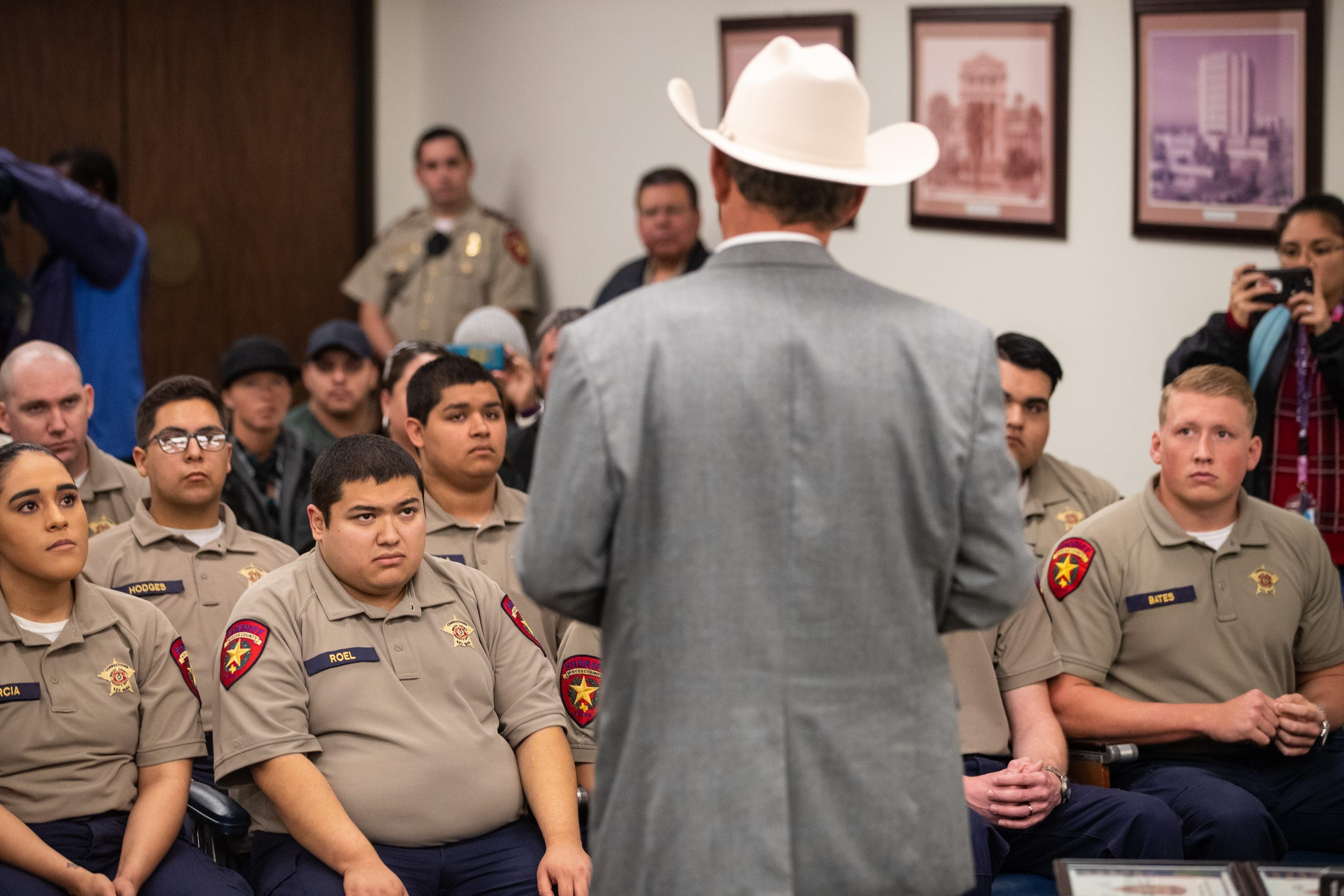 Nueces County Sheriff J.C. Hooper speaks to the 12 new jailers during a graduation ceremony for them on Friday, Nov. 9, 2018.