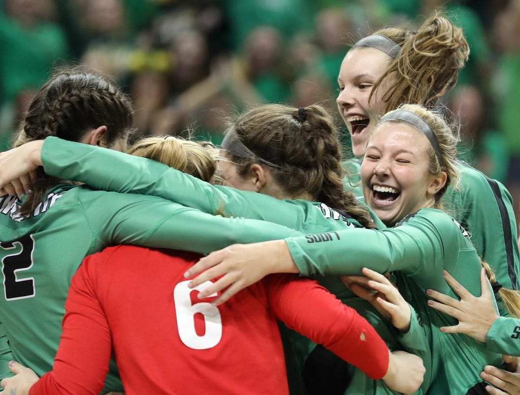 Ursuline players celebrate after advancing to the State Championship game on Saturday at Wright State University , Friday, Nov.9, 2018.