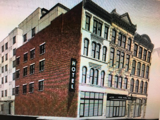 An artist's rendering of a new hotel planned Downtown on Main Street