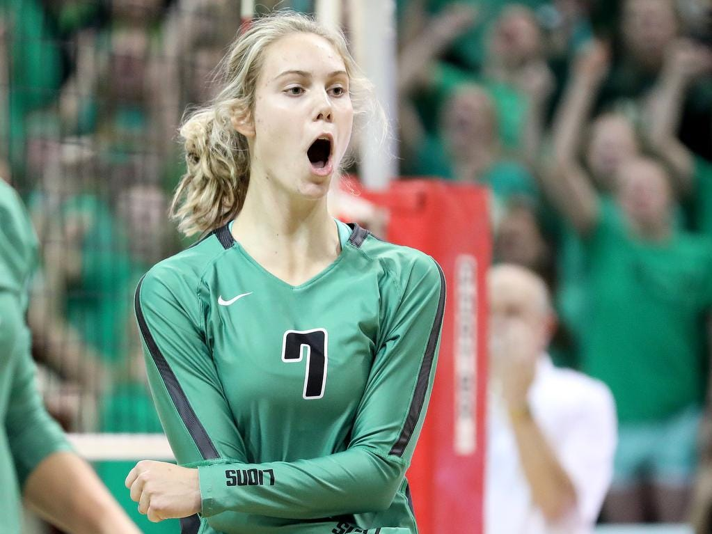 Ursuline player Emma Gielas reacts  during the Lions State semi-final volleyball game against Olentangy Libery, Friday, Nov.9, 2018.