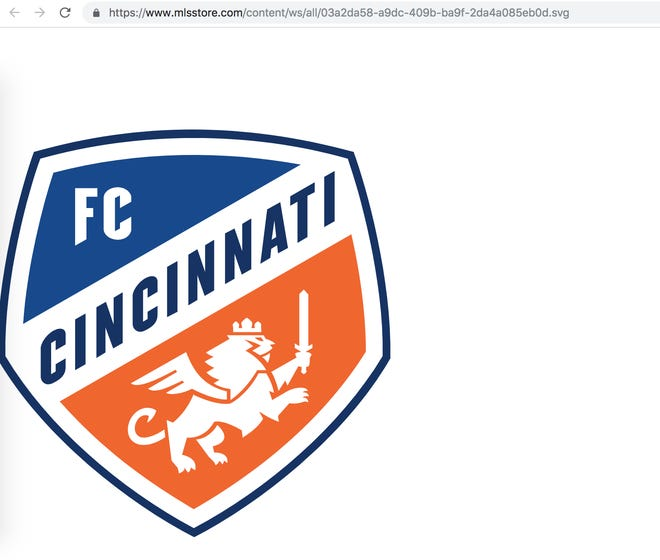 An Enquirer screen grab of what appears to be an FC Cincinnati mark on a web page that is an offshoot of mlsstore.com