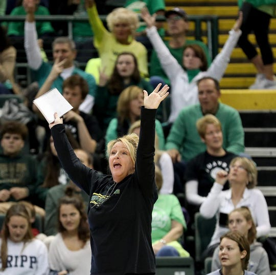 Ursuline  head coach Jenni Case  during the Lions State semi-final volleyball game against Olentangy Libery, Friday, Nov.9, 2018.