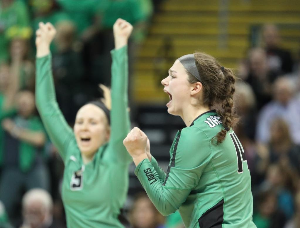 Ursuline players celebrate during the Lions State semi-final volleyball game against Olentangy Libery, Friday, Nov.9, 2018.