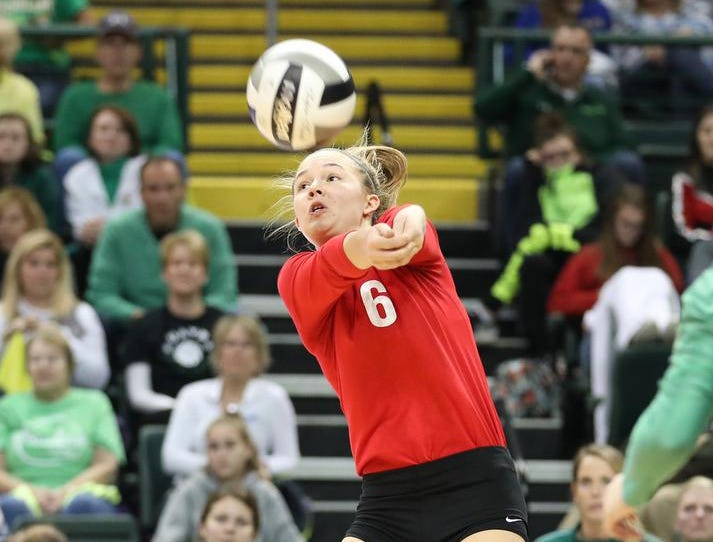 Ursuline player Maggie Huber (6)  during their  State semi-final volleyball game against Olentangy Libery, Friday, Nov.9, 2018.
