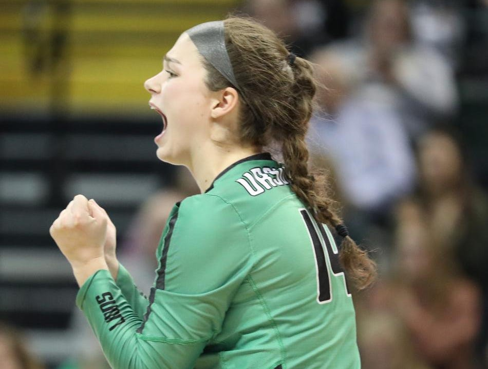 Ursuline player Andi Elsbrock reacts during the Lions State semi-final volleyball game against Olentangy Libery, Friday, Nov.9, 2018.