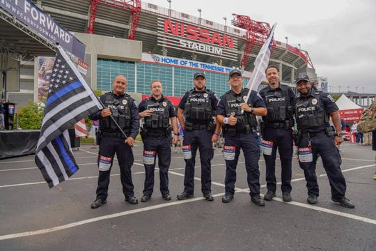Police participating in the recent Nashville Wounded Warrior Project Carry Forward 5K, sponsored by CSX.