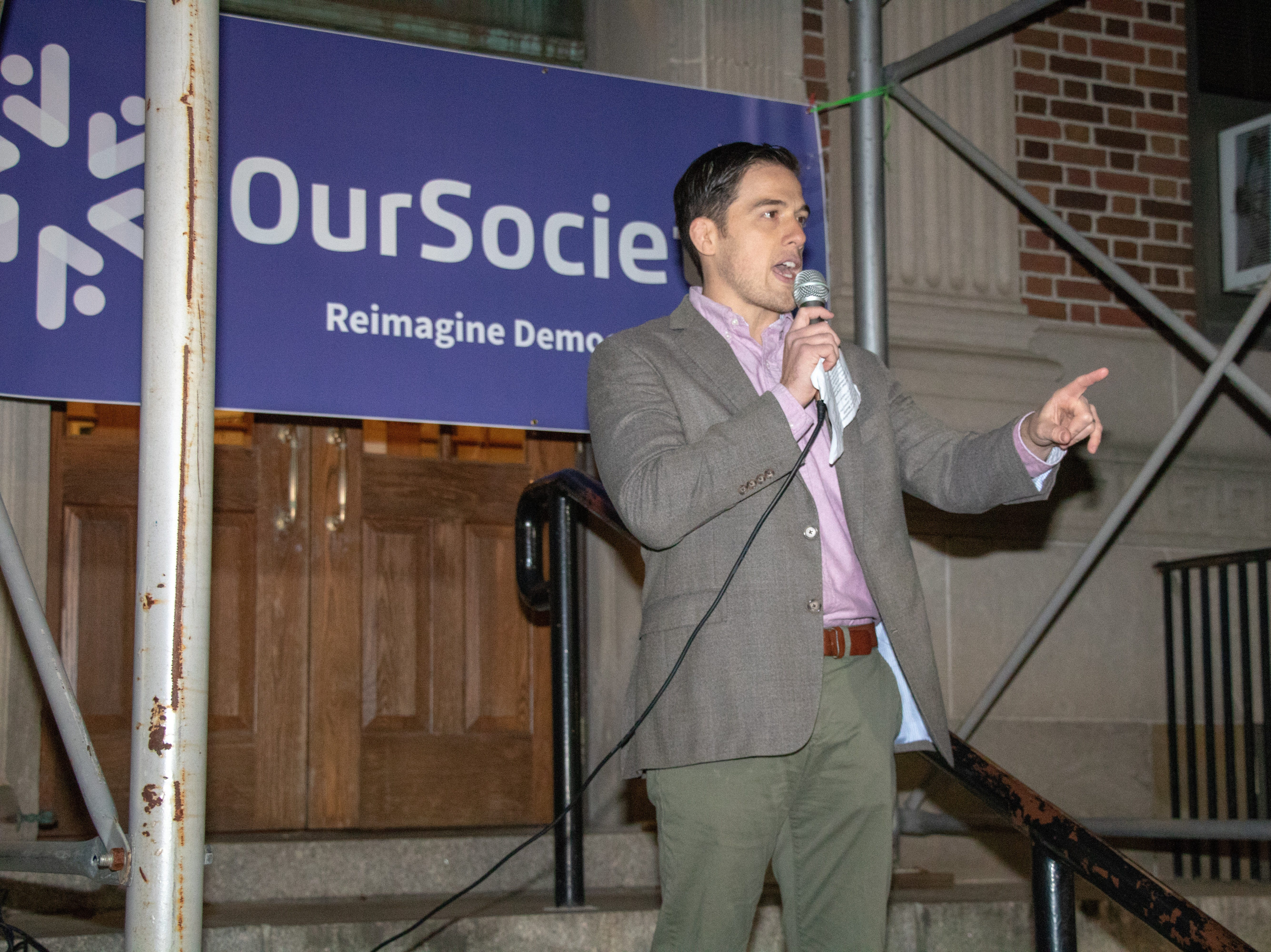 Ron Rivers,Founderand Executive Director of OurSociety speaks to the crowd at the protest over Jeff Sessions resignation in New Brunswick.