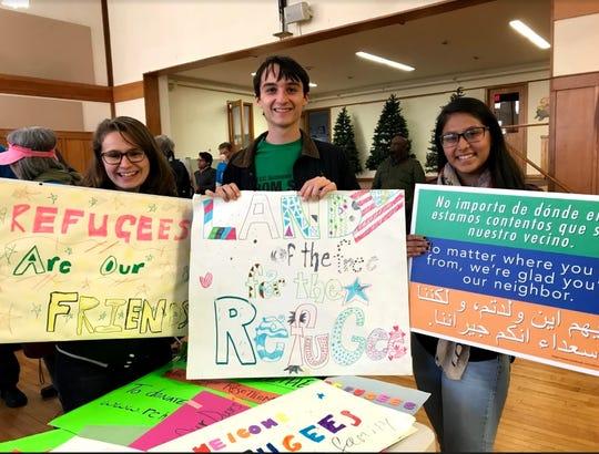 Wardlaw+Hartridge students Alex DeSousa of South Plainfield, Kelton Estabrook of Plainfield and Katherine Hernandez of Elizabeth show their support.