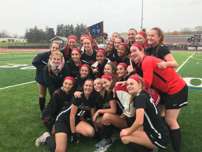 The Hunterdon Central girls soccer team won the NJSIAA Central Group IV sectional title with a 2-1 overtime win over Old Bridge on Saturday, Nov. 9, 2018.