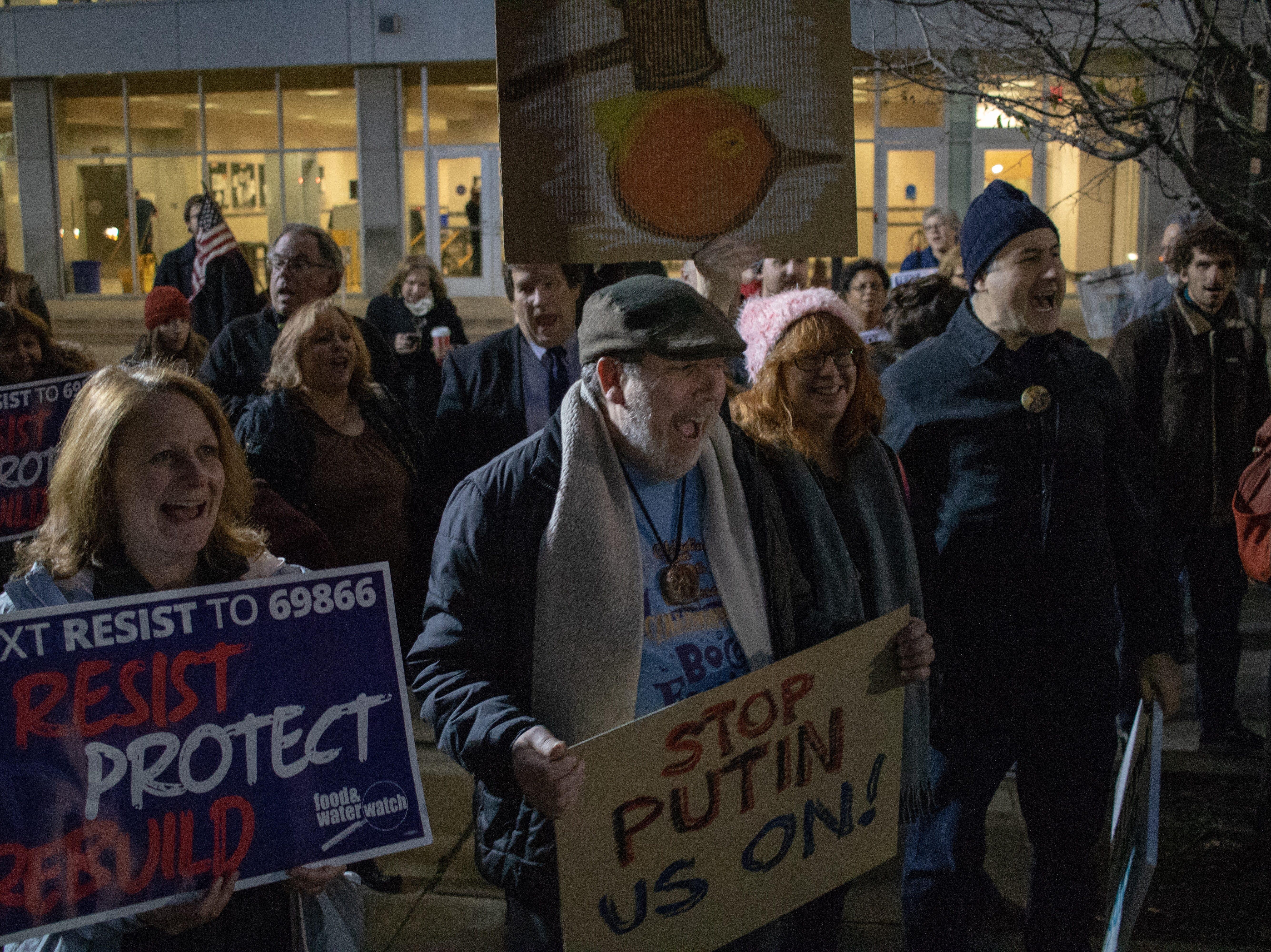 Our Society and RU Progressive organize protest over Jeff Sessions resignation in New Brunswick.