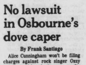 A Feb. 1, 1982 Des Moines Tribune press clipping regarding Ozzy Osbourne's infamous bat-biting incident in Des Moines.