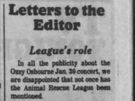 A Jan. 29, 1982 Des Moines Tribune press clipping regarding Ozzy Osbourne's infamous bat-biting incident in Des Moines.