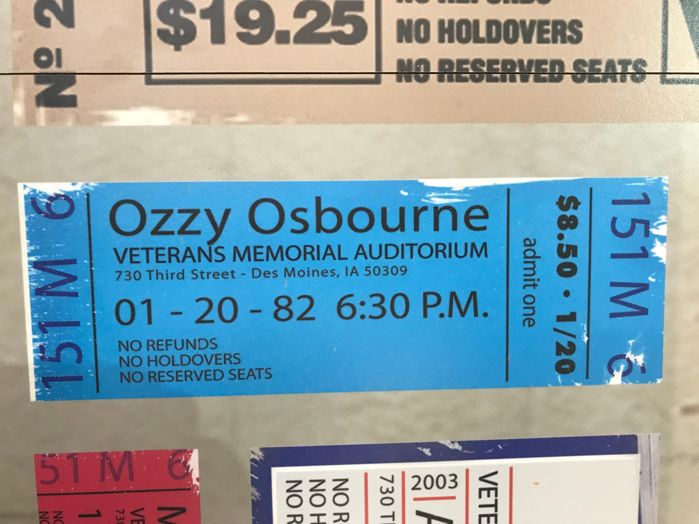 A replica ticket stub from an Ozzy Osbourne concert on Jan. 20, 1982, at Veterans Memorial Auditorium in Des Moines, Iowa. Osbourne infamously bit the head off a bat during the performance.