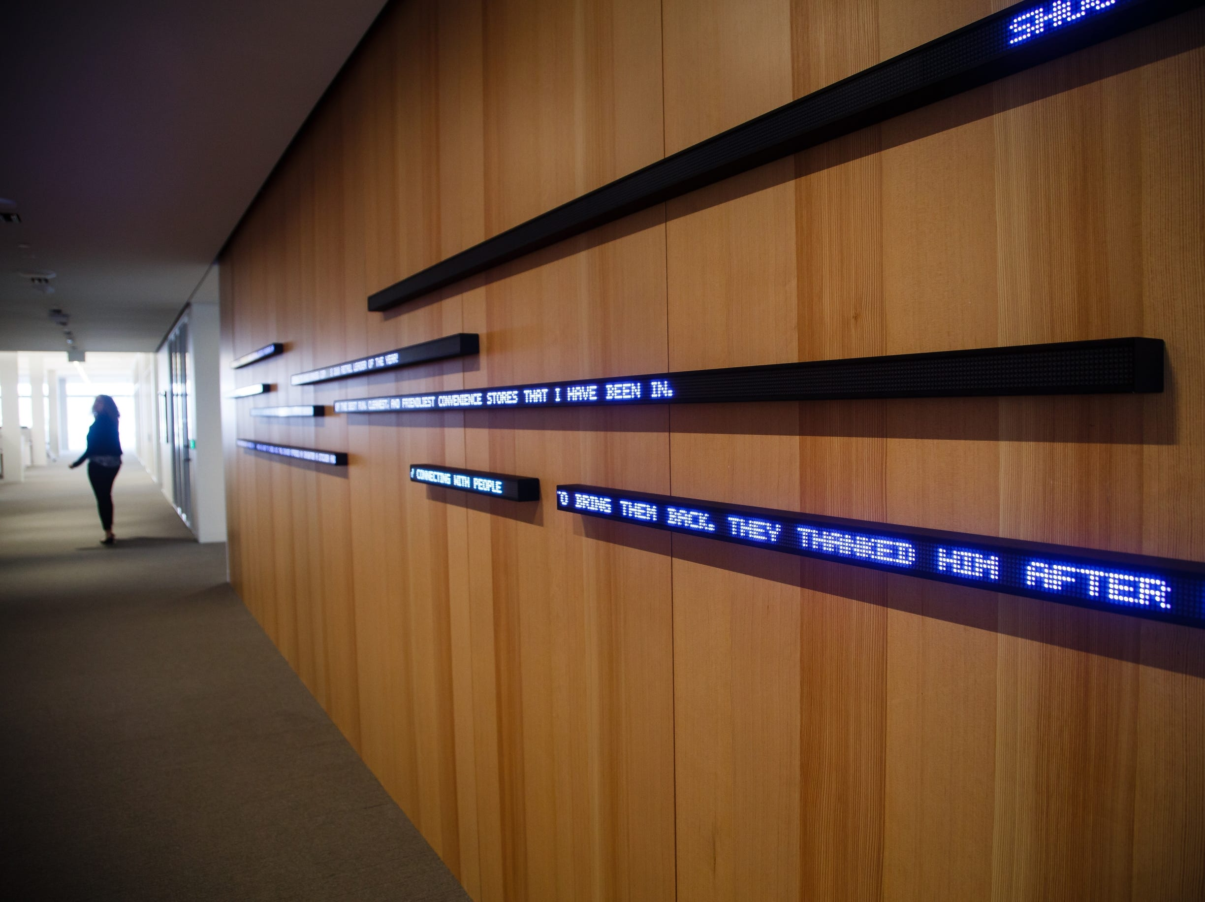 A ticker that plays positive feedback the company has received is seen in the new Krause Gateway Center downtown on Friday, Nov. 9, 2018, in Des Moines.