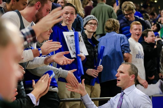 Federal employees affected by the ongoing partial government shutdown will be able to receive free admission to a total of four Drake men's and women's basketball games over the next month. Pictured is men's coach Darian DeVries.