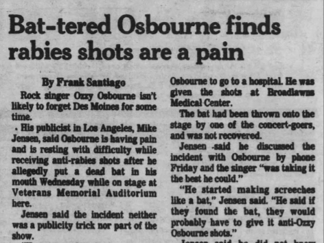 A Jan. 23 1982 Des Moines Tribune press clipping regarding Ozzy Osbourne's infamous bat-biting incident in Des Moines.