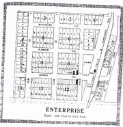 This surviving plat map of the mining village of Enterprise shows the main streets, lots and city blocks. Enterprise lasted about two decades before dwindling due to the departure of workers to other area mines.