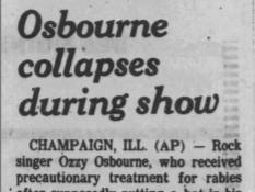 A Jan. 27, 1982 Des Moines Tribune press clipping regarding Ozzy Osbourne's infamous bat-biting incident in Des Moines.