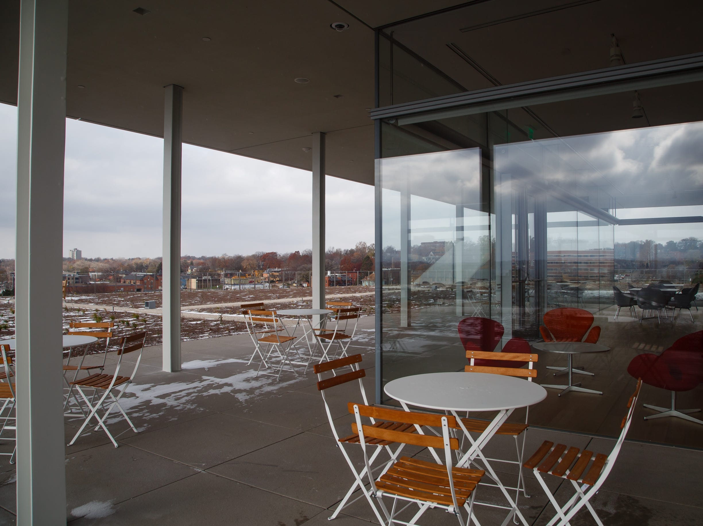 The sixth floor pavilion overlooking the sculpture park is seen at the new Krause Gateway Center downtown on Friday, Nov. 9, 2018, in Des Moines.