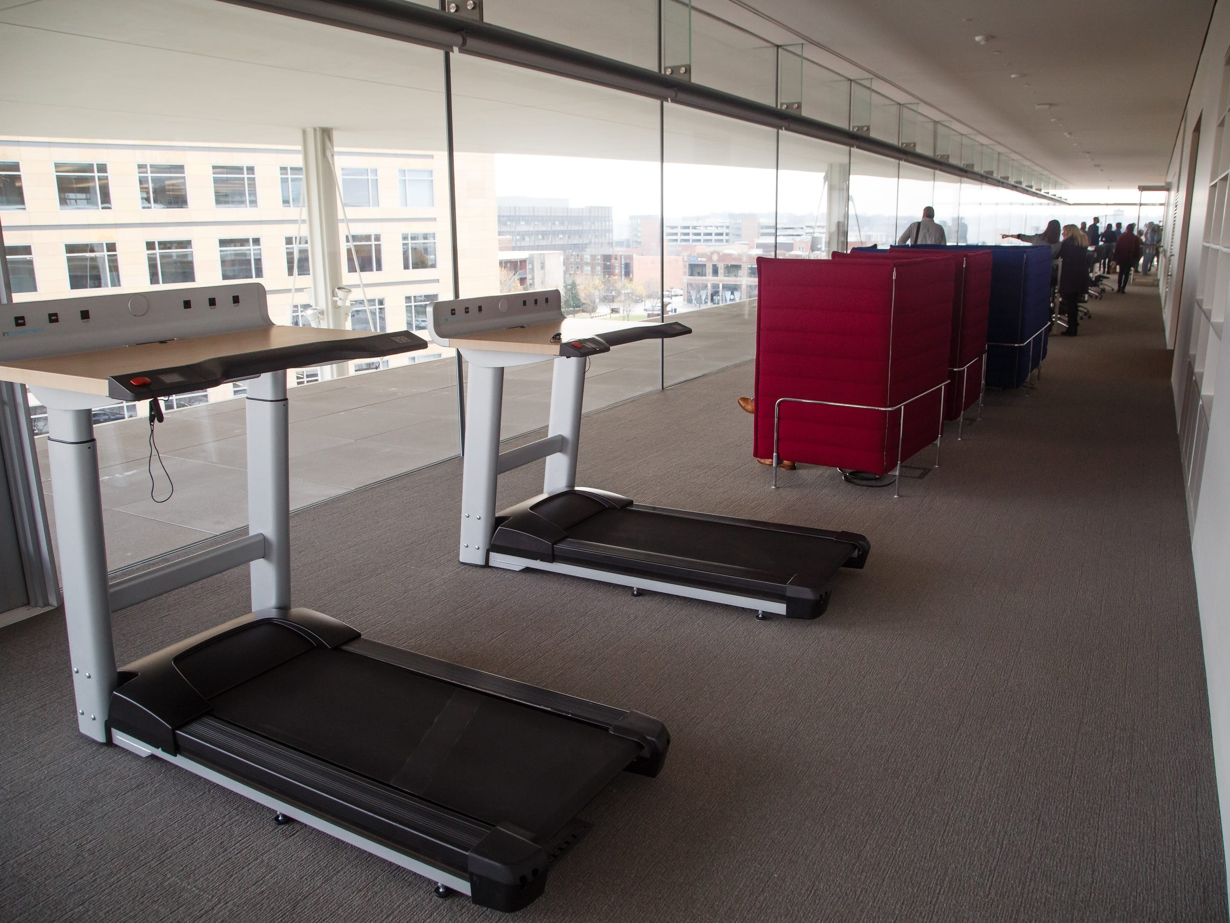 Treadmill desks are a feature of the the new Krause Gateway Center downtown on Friday, Nov. 9, 2018, in Des Moines.